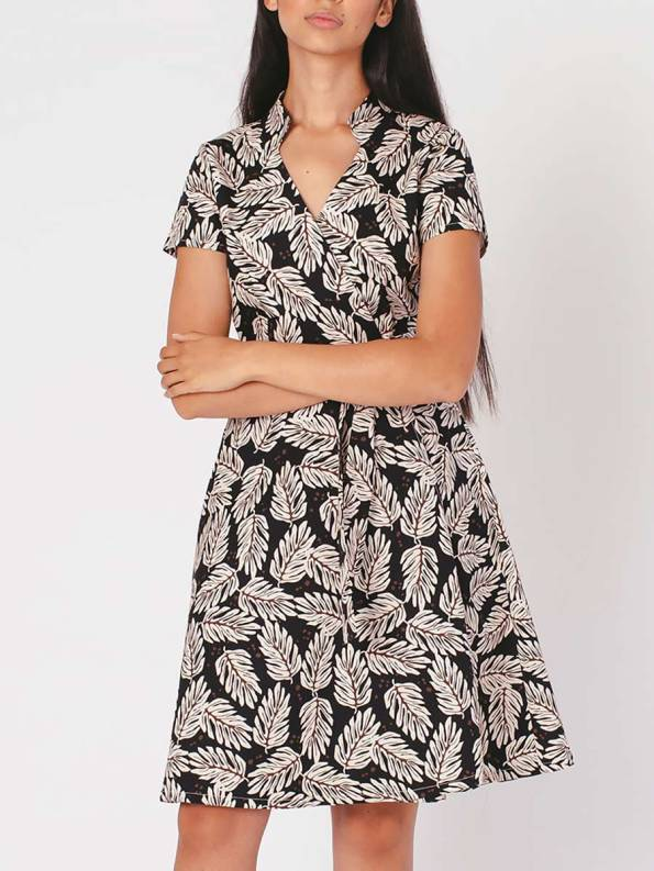 Mareth Colleen Henry Dress Leaf Print Crop Front