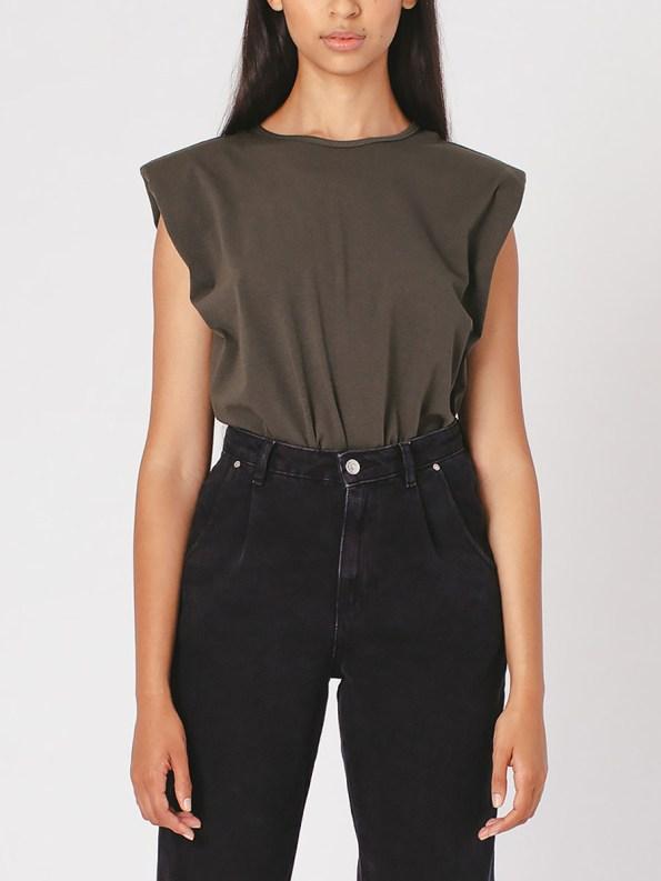 Mareth Colleen Shoulder Pad T-Shirt Olive Green Crop