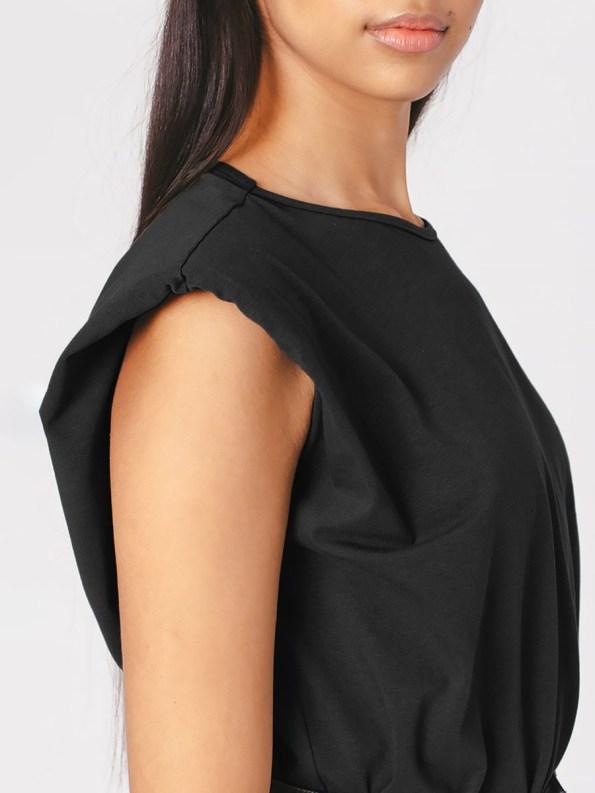Mareth Colleen Shoulder Pad T-shirt Black Sleeve