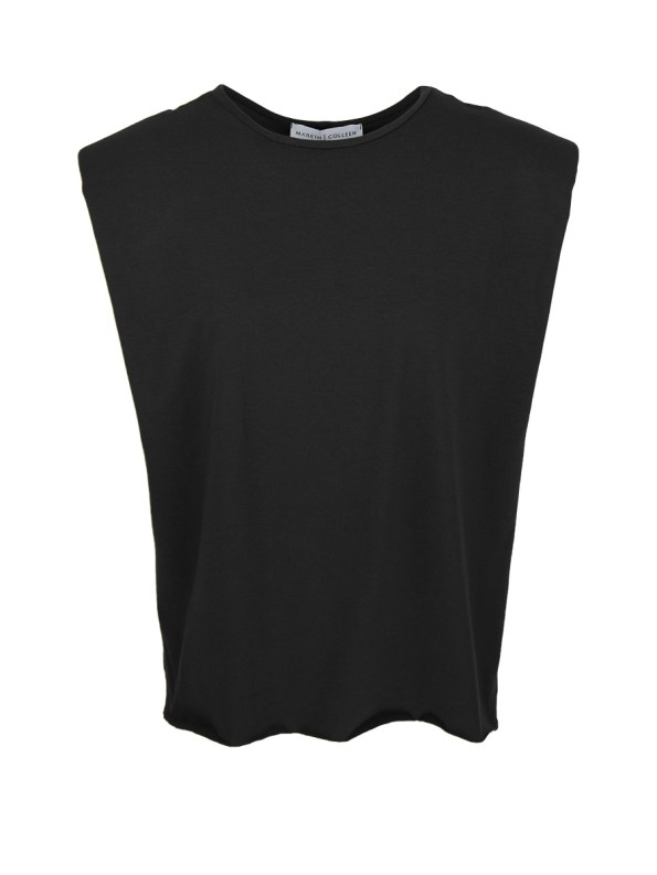 Mareth Colleen Shoulder Pad T-shirt Black
