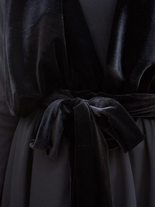 Erre Velvet Waterfall Coat Black Detail 2