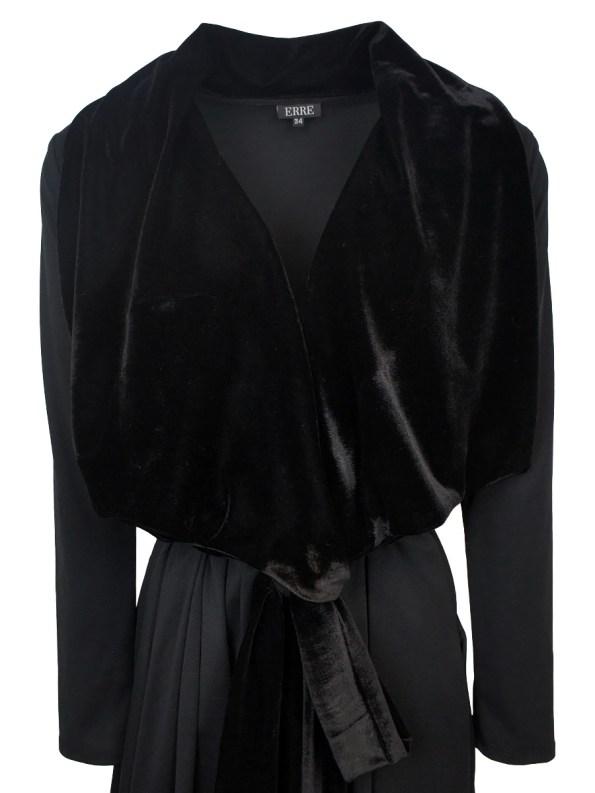Erre Velvet Waterfall Coat Black Detail