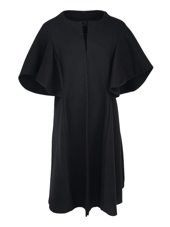Erre Wool Cape Sleeve Coat Black