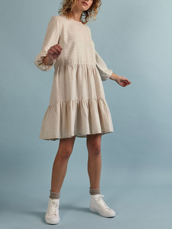 Good Short Tea Frill Natural with Stripe Angle