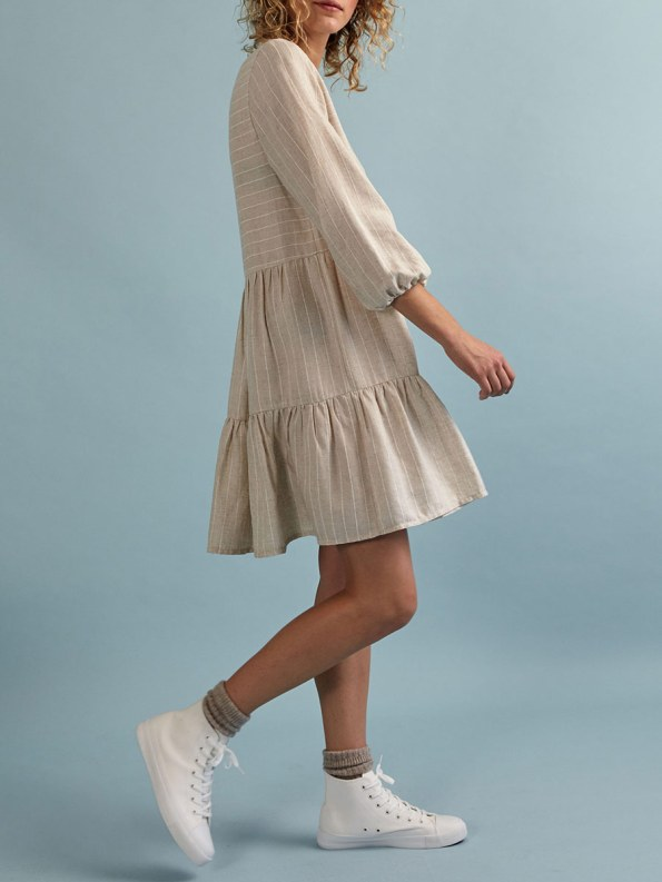 Good Short Tea Frill Natural with Stripe Side