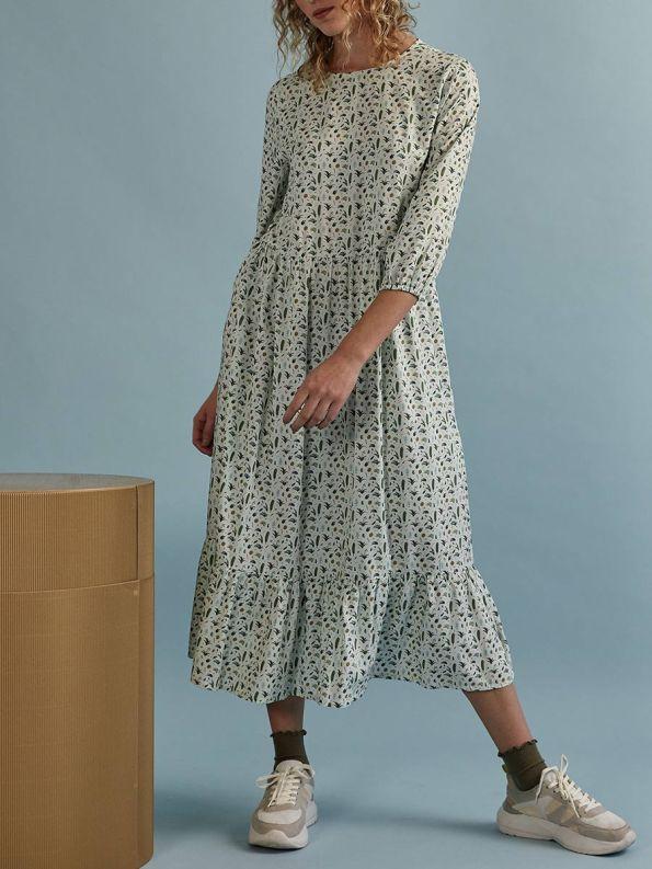 Good Tea Frill Dress Green Ditzy Front 2