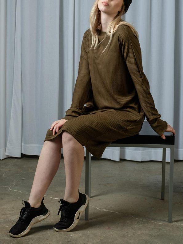 IDV Knit Cocoon Dress Olive 2
