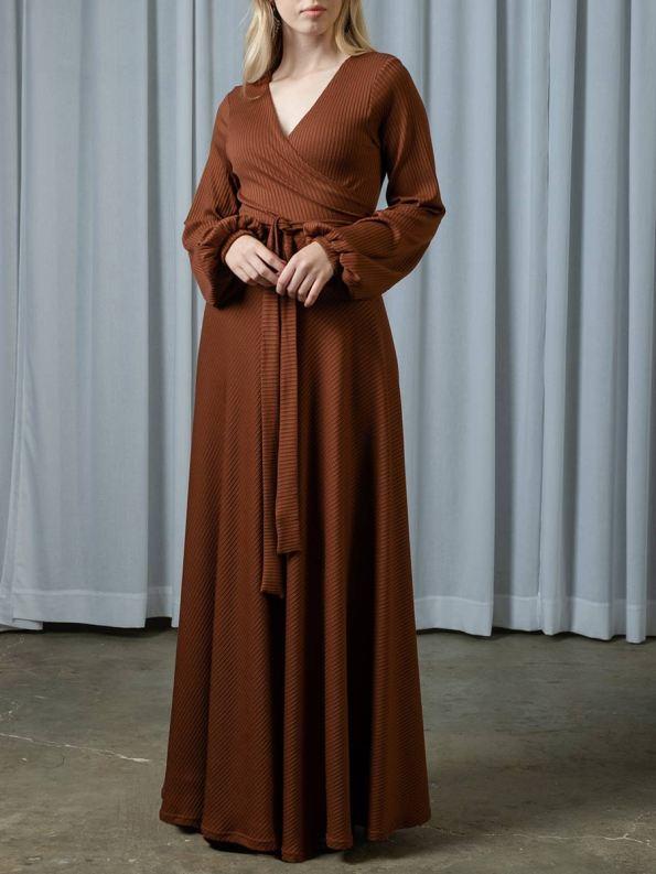 IDV Knit Maxi Wrap Dress Copper 3