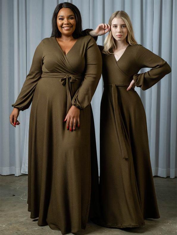 IDV Knit Maxi Wrap Dress Olive