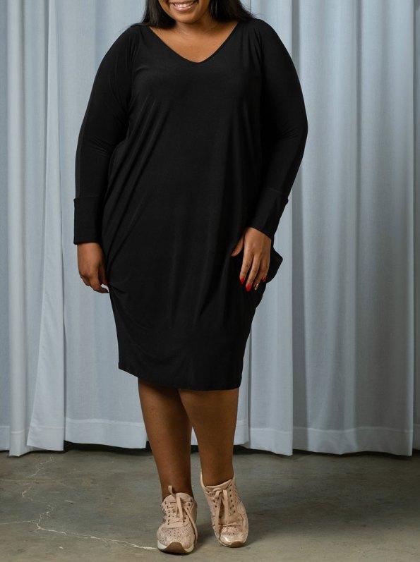 IDV VNeck Cocoon Dress Black 1