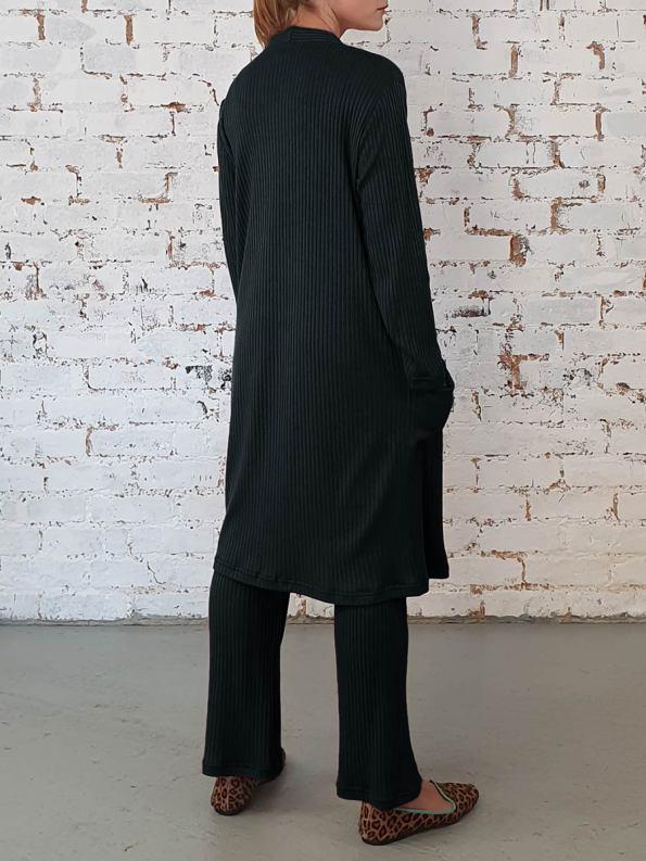 JMVB Loungewear Long Cardigan Black Back
