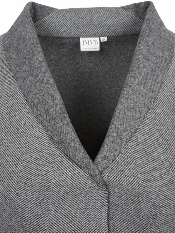 JMVB Signature Coat Grey Herringbone Collar