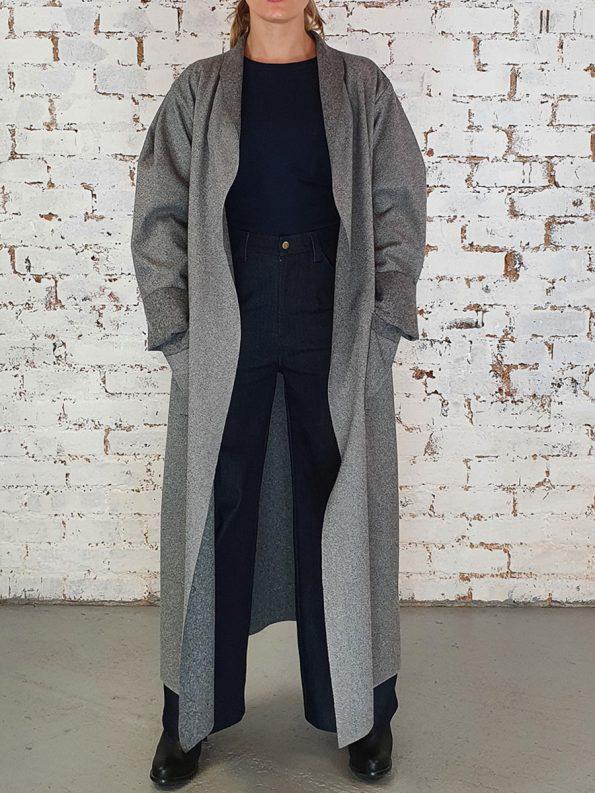 JMVB Signature Coat Grey Herringbone Front
