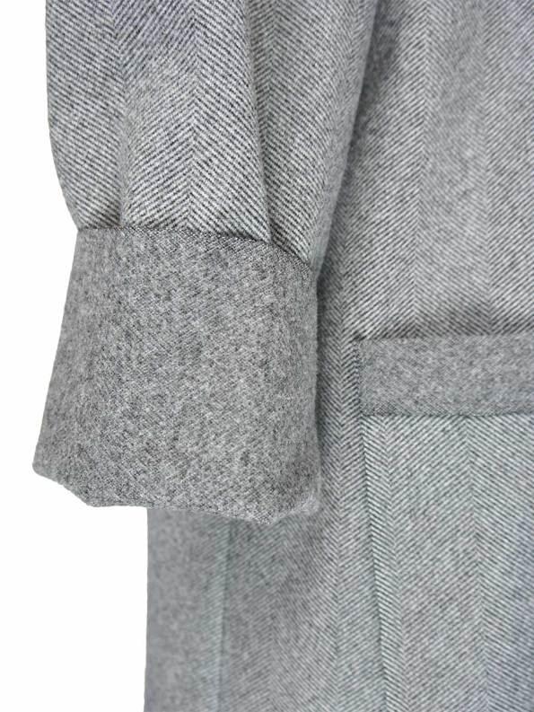 JMVB Signature Coat Grey Herringbone Sleeve