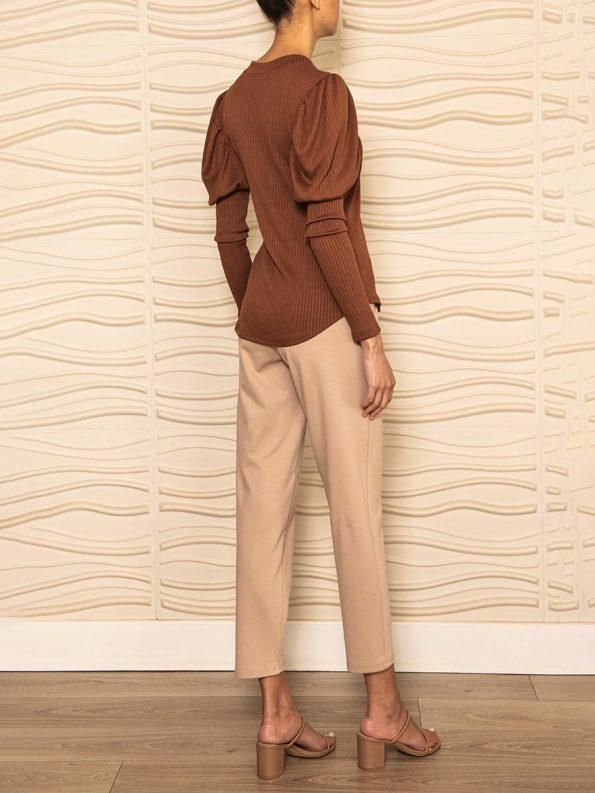 Smudj Phoebe Knit Top Brown Back Angle