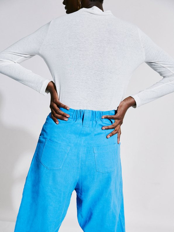 Asha Eleven Tembea Trousers Cornflower Blue and Happy Turtles Top Back