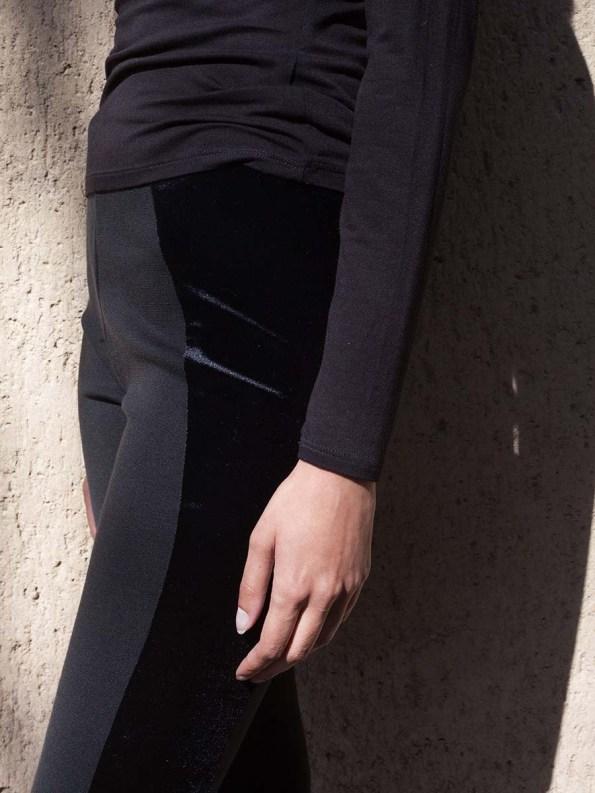 Erre Velvet Panel Leggings Black 1