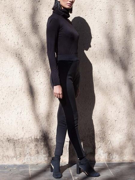 black leggings with velvet side panels