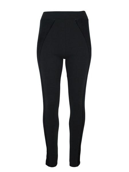 black leggings with velvet panels