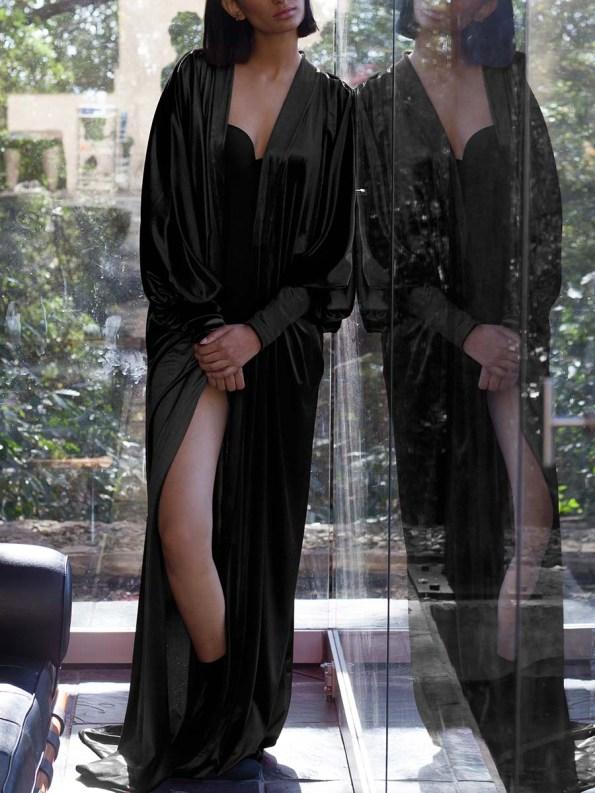 Erre Velvet Robe Black 7
