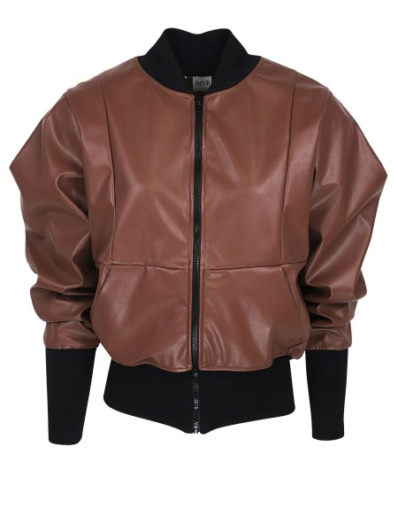 Brown leather bomber jacket women's