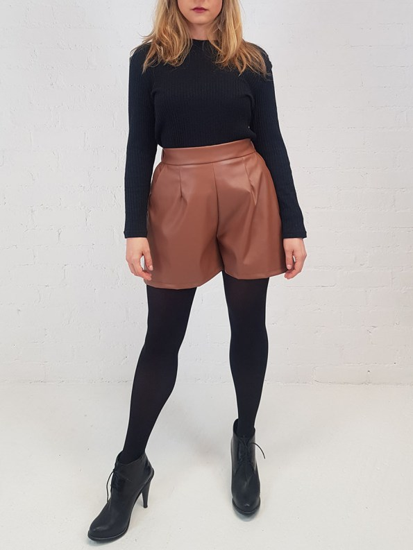 JMVB Faux Leather Shorts Front