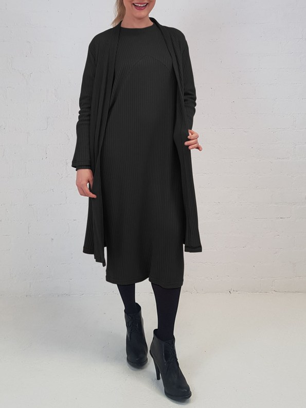 JMVB Sweater Dress Black with Cardi Front