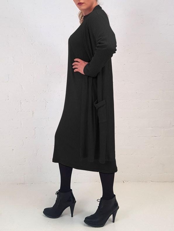 JMVB Sweater Dress Black with Cardi Side