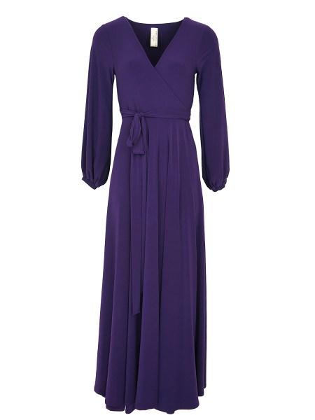 Purple wrap dress plus size