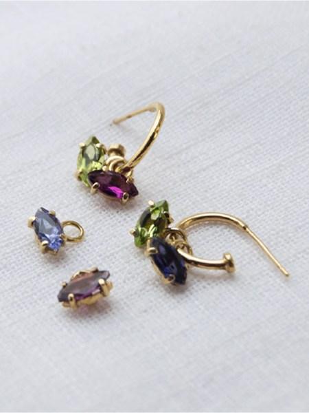 hoop earrings with colourful stones