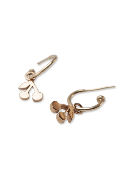 hoop earrings with cherry charms
