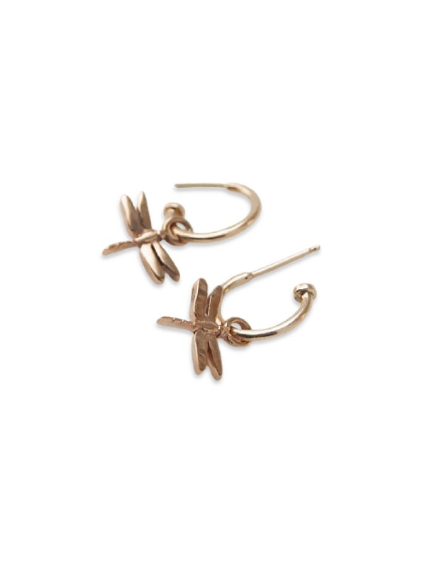 Kirsten Goss Dragonfly Huggies Rose Gold