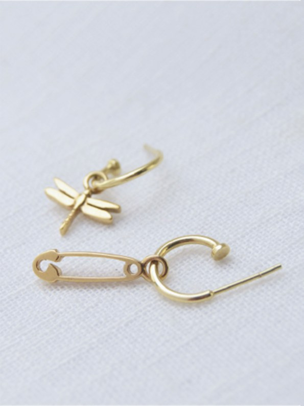 Kirsten Goss Dragonfly Safety Pin with Hoops