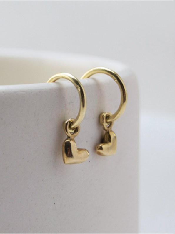 Kirsten Goss Huggie Hearts Earrings Gold Hanging