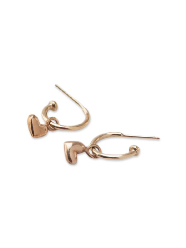 Kirsten Goss Huggie Hearts Earrings Rose Gold