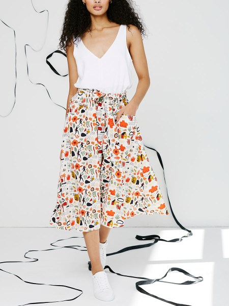white linen cami with printed skirt