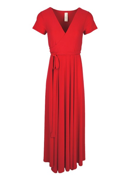 Long red wrap dress