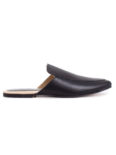 black leather mules womens