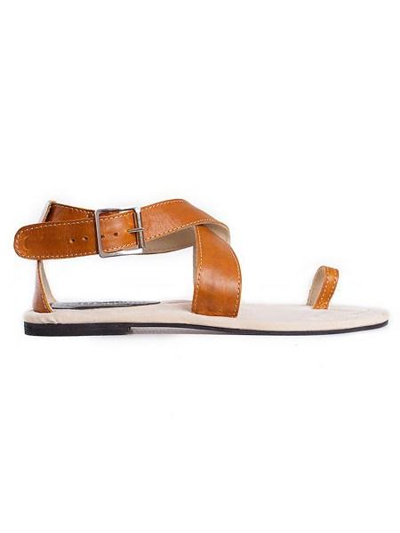 tan toe loop sandals