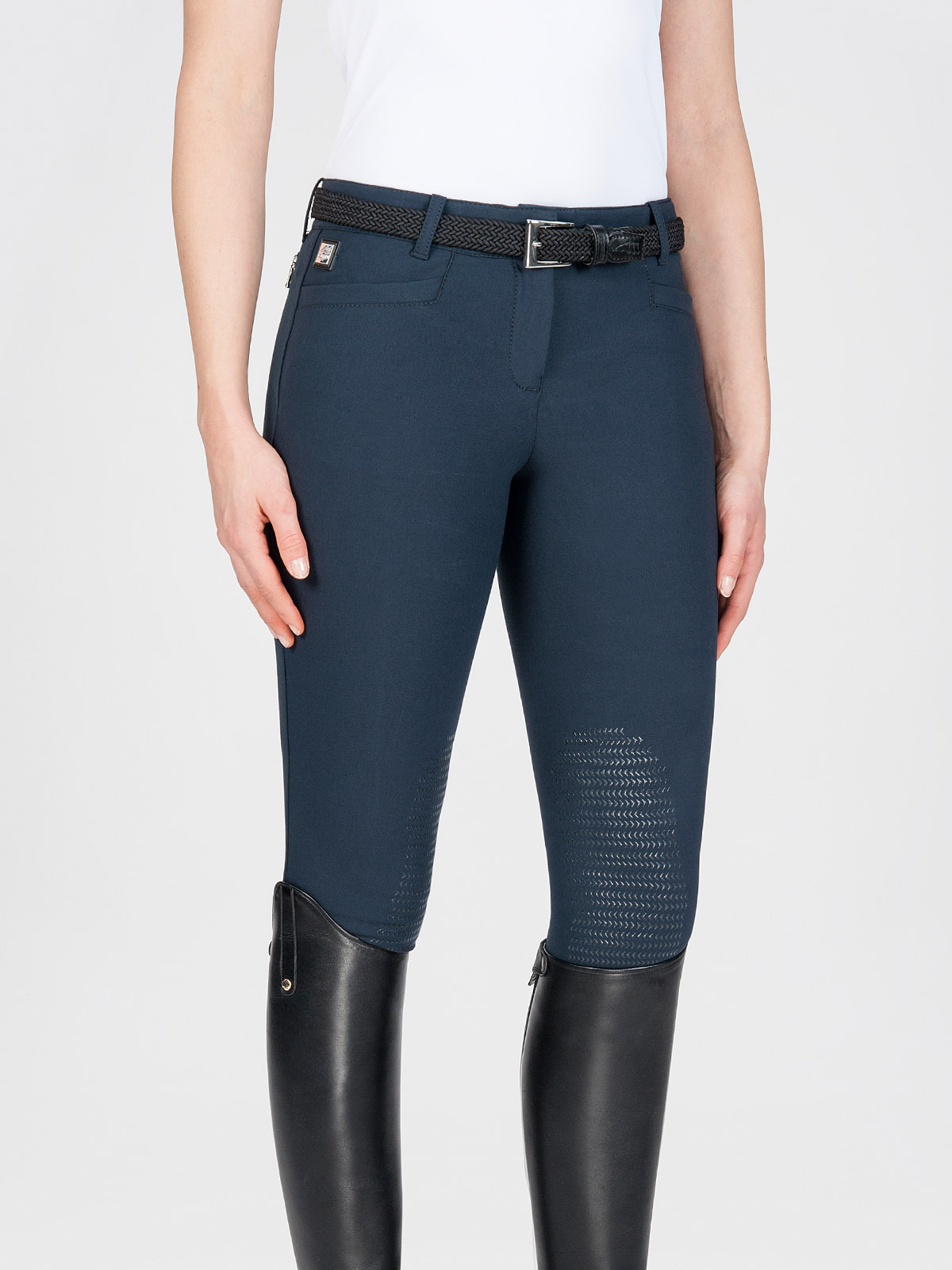 ASH Women's Riding Breeches with X-Grip Knee Patch in navy blue