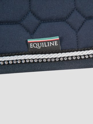 Equiline RIO octagon saddle pad with rhinestone piping in blue jumping size
