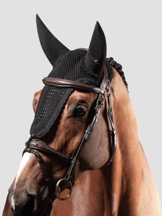 Equiline Ruben soundproof tie down ear bonnet in black