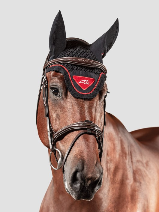 Equiline Nadir ear bonnet in red