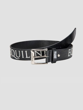 Equiline Ralph unisex leather belt with Italian flag embroidery in black