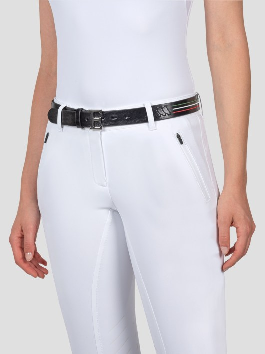 """LEATHER BELT WITH """"E"""" BUCKLE AND ITALIAN-FLAG LINES 2"""