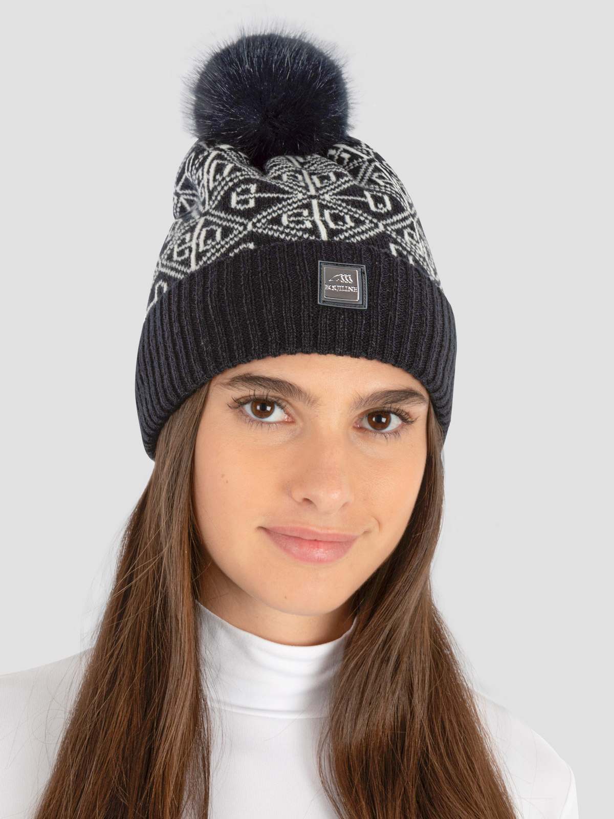 EDY KNIT POMPOM HAT WITH ALL OVER LOGO 2