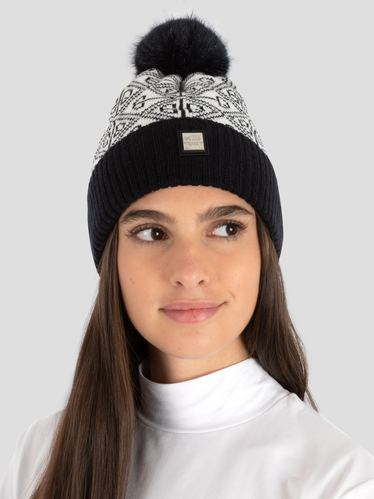 EDY KNIT POMPOM HAT WITH ALL OVER LOGO 1