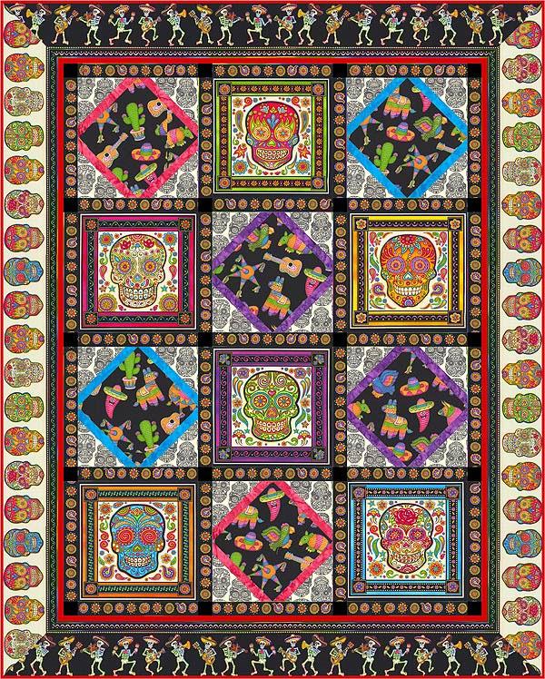 Sugar Skull Quilt : sugar, skull, quilt, Quilt, Pattern, Sugar, Skull, Dancers, EQuilter, BlogeQuilter