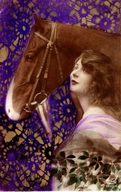 Vintage postcard of lady with horse and a hand tinted background