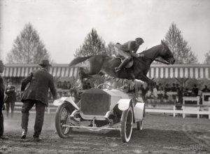 "Ralph Coffin jumping his horse over Sylvanus Stokes's Rolls-Royce on Rabbit."" Harris & Ewing glass negative."